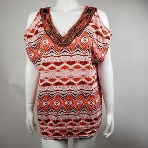 Lane Bryant Orange Cold Shoulder Top Size 14